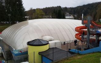 Used pool air dome on stock, 56x32m