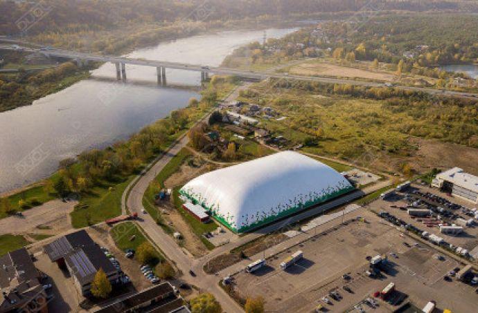 Beautiful football air dome in Kaunas. Aerial drone footage.