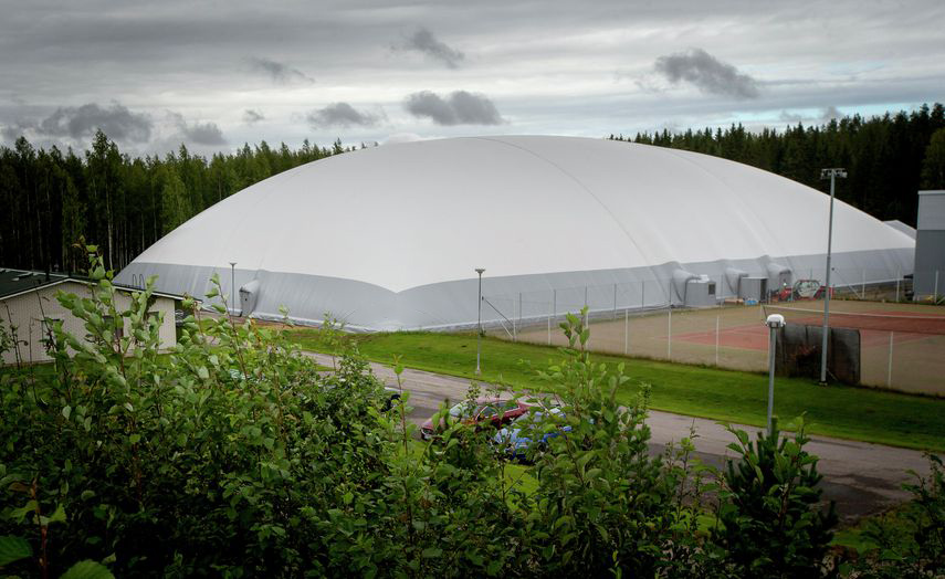 The indoor football pitch with new generation air dome is built