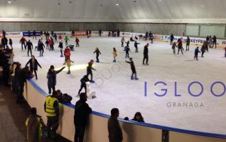 Ice skating event. Duol sport dome in Granada, Spain.