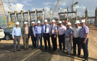 Slovenian Ministry delegation during the visit of a construction site in Astana.