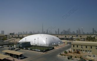 3000sqm2 climate-controlled air dome. The first of its kind indoor, multilayer insulated dome facility in Dubai.