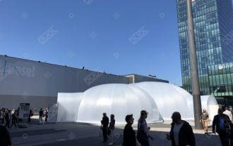 »La bulle de Bâle« avec une Structure Gonflable  DUOL, d'implantation temporaire, semblable à un igloo.
