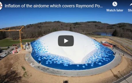 Inflation of the airdome which covers Raymond Poulidor velodrome near Limoges in France