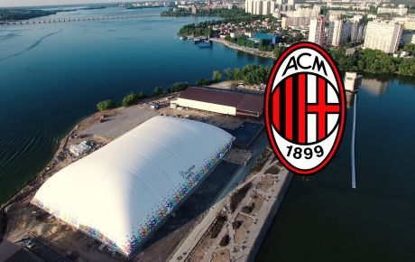 First AC Milan football academy in Russia under DUOL air dome.