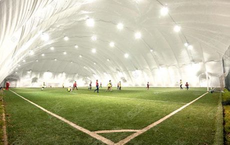 Football air dome on stock. 65m X 37m