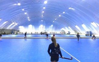 Two new field-hockey air domes in the Netherlands